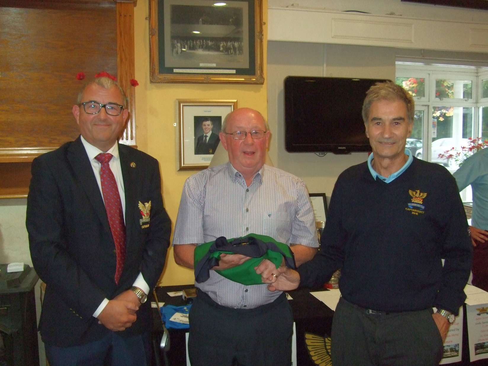 Mick Fox 3rd in Captain Elects Pat Corcoran's prize with Brian Gunning, Captain and Pat Corcoran Captain-elect